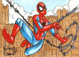 Spider-Man Swing Sketch Card by ibroussardart
