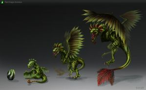 Plant Dragon Evolution by DLouiseART
