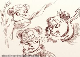 Panda Faces sketch 1 by Claudiney