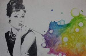 Audrey Hepburn mixed media. by JaedinAlways
