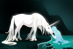 Lady of the Lake with Unicorn by HeatherIhn