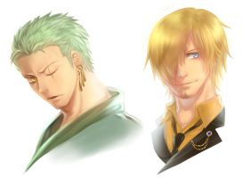 Zoro and Sanji by f-wd
