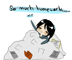 So much homework... by djchungy