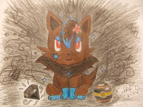 .:Sapphire the Shiny Zorua 2 Colored:. by SonicPokemonPrincess
