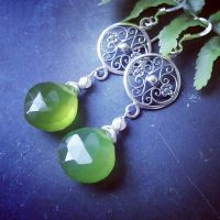 In the Garden -Leaf Green Chalcedony, Tiny Pearls by QuintessentialArts
