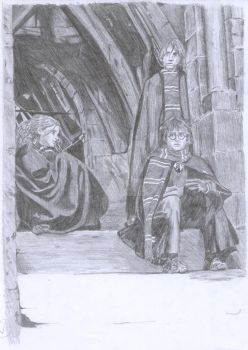 Harry, Hermione, and Ron by Charmedsoul