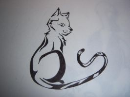 Tribal Cat Tattoo by TheTater