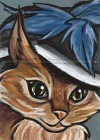 Merry Widow Mountain Cat ACEO by sobeyondthis
