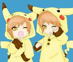Kaoru and hikaru Pikachuus by Silly-Whiskers