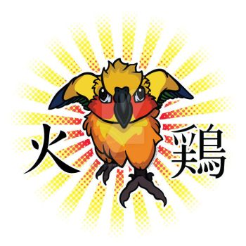 FIRE CHICKEN - Sun Conure Tee + Decal Design by Brushfeather