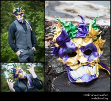 Devil's Mardi Gras Jester Leather Mask by DarkHarvestLeather