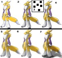 How to draw a furstyle Renamon by DigimonReach