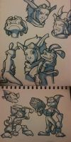 Ratchet/Jak/Daxter sketchdump by Gashu-Monsata
