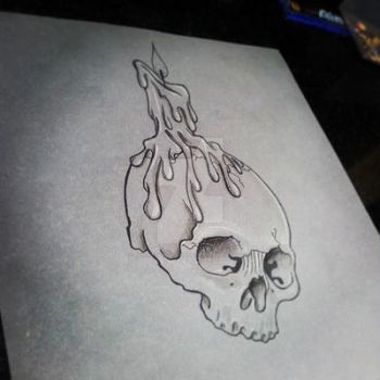 Pretty Grotesque skull with candle tattoo design by heartsandanchors