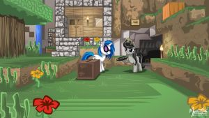 DJ Pon-3 and Octavia in Minecraft 16.9 by mysticalpha