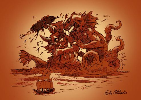 Two Sea Monsters Fighting For A Derelict Ship by WalterPQ