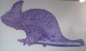 - Chameleon - Ball Point Pen Drawing by KisaMake