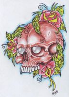 Skull And Roses by vikingtattoo