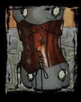 steampunk leather corset side view by Lagueuse