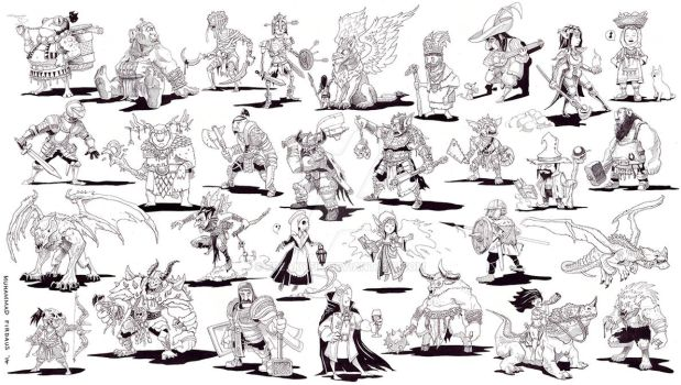 Inktober 2014 Compiled - RPG Heroes and Villains by freakyfir