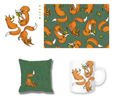Pattern Ilustration: Fox and Leaf by fastclickchic0413