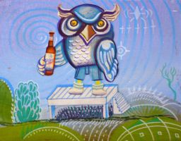 Owl with Nasty Light Beer by hyronomous