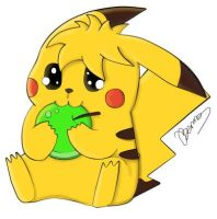 Pikachu and the Apple by Bennos2cool4u