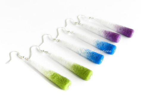 Paper-sand white and purple/blue/green earrings by OmbryB