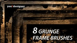8 Grunge Frames Photoshop Brushes by youthedesigner