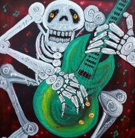 Skeleton Guitarist by barbosaart