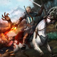 Witcher Geralt on horse by Maxifen by Maxifen