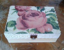 Decoupage wood box with roses by SteamJo
