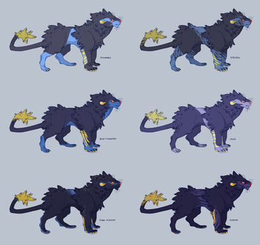 comm - Luxray Variations by CoryKatze
