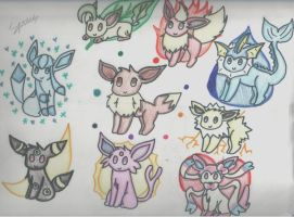 Eevee and its evolution by Sparkheart1