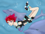 Swimming with dolphins by LadyGab