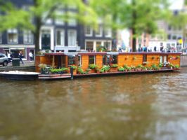 Tilt-shift: Houseboat in Amsterdam by honouraryweasley