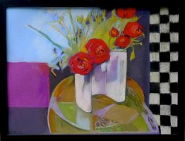 Rose Painting Checkers by Bernadettedecesare