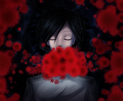 Red that blooms in the dark by Mayuen