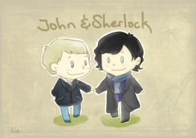 Sherlock and John Chibi by SaerwenApsenniel