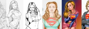 My evolution of my supergirl art's by jefterleite