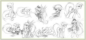 10 Derpy Hooves Sketches by Uminanimu