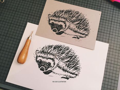 hedgehog linoprint by KiaSuee