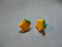 Paopu Fruit Earrings by okapirose