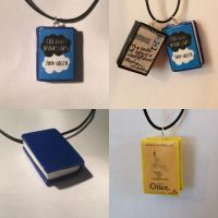 Book charm necklaces by Tiniecharms