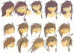 Character design Yanshi - Color and emotion sheet by Kyra-illustrations