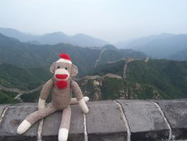 Sock Monkey at the Great Wall by Rashavarak