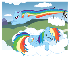 MLP: Rainbow Dash dreams by giantsquidie