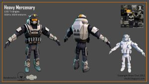 Heavy Mercenary low-poly character by PandaProduction