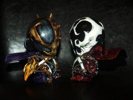 Custom redeemer and classic Spawn 4' Munny's by VILORIA-ARTS