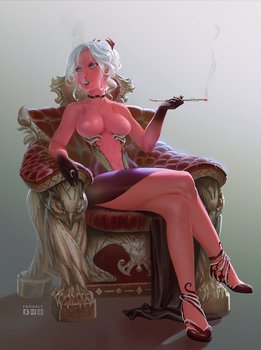 Demonic mistress (commission) - full nude version by froxalt
